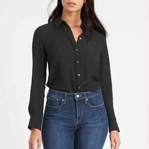 Banana Republic dark grey satin button down shirt